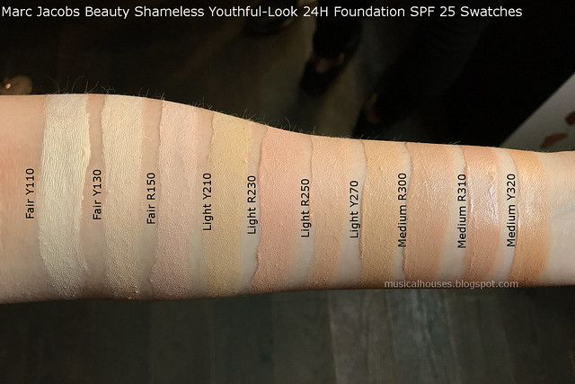 Marc Jacobs Shameless Foundation Swatches  Youthful-Look 24H SPF 25