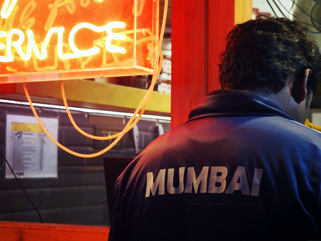 Mumbai Jacket Neon Lights Night Portrait_effected