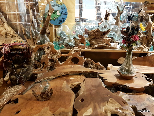 Glass on wood sculptures and wood carvings