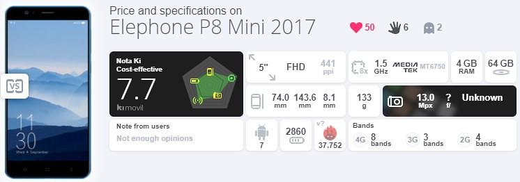Elephone S8 mini スペック