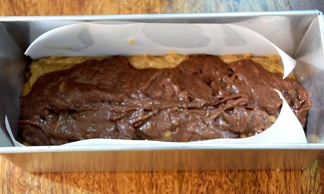 Chocolate Banana Cake batter in Loaf Tin
