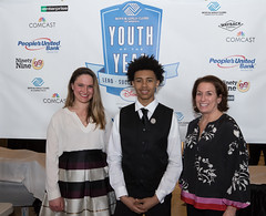 Rep. Stephanie Cummings, Youth of the Year Tyrese Gallant, and Karen Senich, executive dir. of the Boys and Girls Club of Greater Waterbury, during the 2018 State Youth of the Year Awards dinner at the State Capitol.
