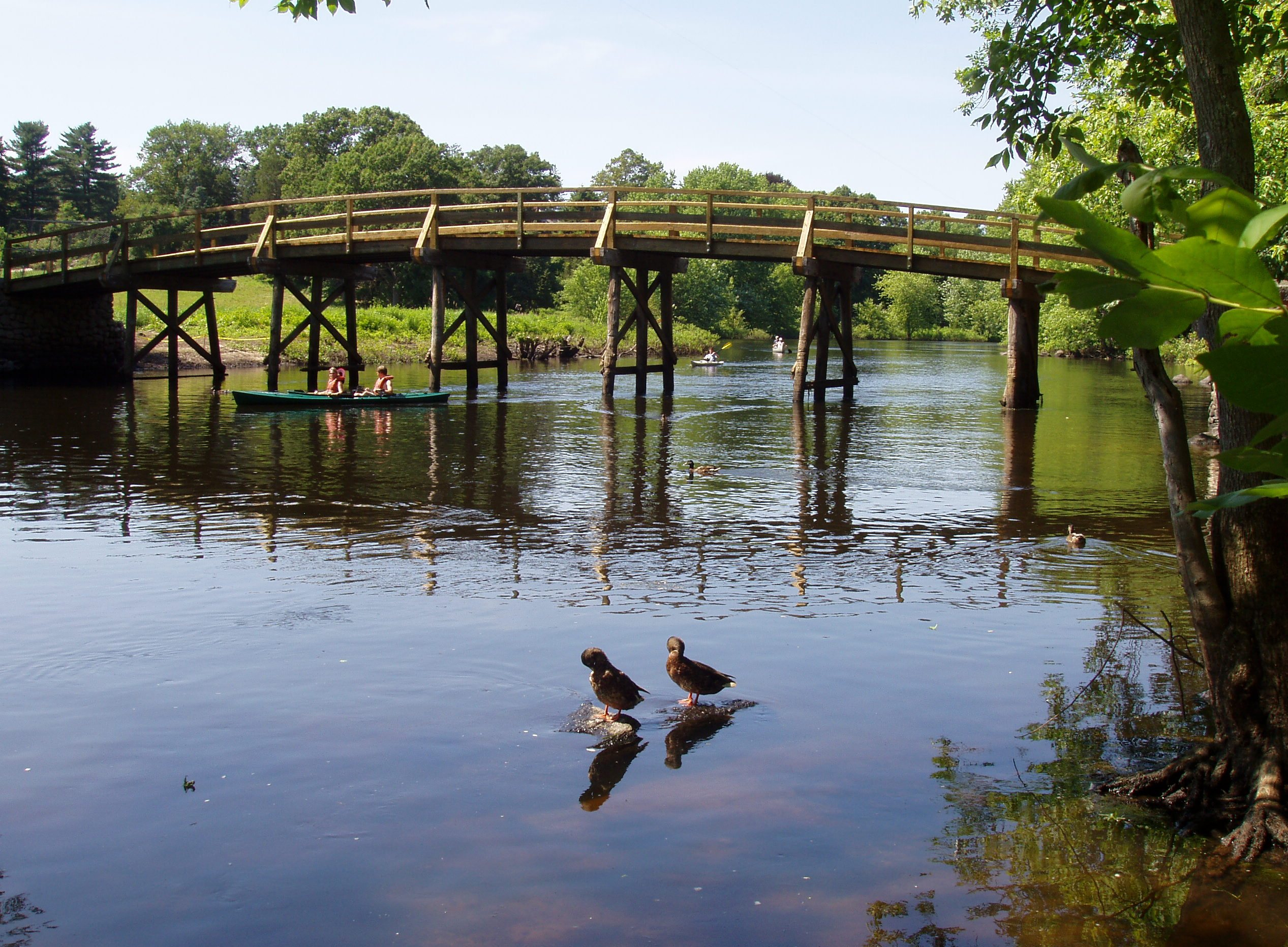Old North Bridge over the Concord River in Concord, Massachusetts. Photo taken on July 4, 2005.