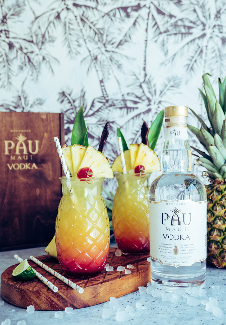 Maui Sunset Cocktail (Pineapple Hibiscus Vodka Cocktail) www.pineappleandcoconut.com #PAUMauiVodka #Earthday #sipresponsibly #noplastic #stopsucking #sipdontsuck #sponsored @paumauivodkaset Cocktail-189