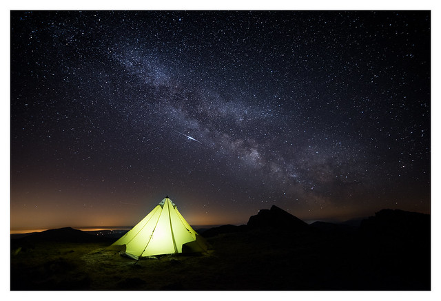 Milkway and Lyrid Meteor above camp in Snowdonia. Y Lliwedd.
