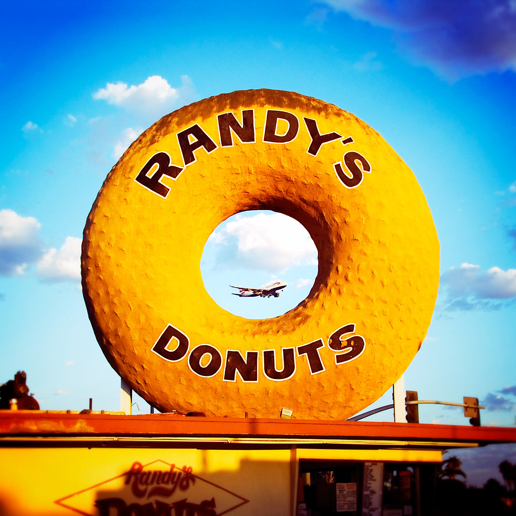 randy's donuts with boeing 747. inglewood, ca. 2006.
