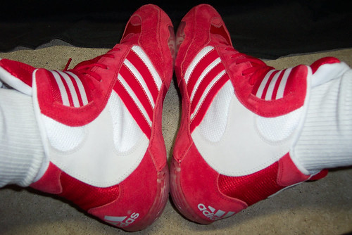Red Adidas Tyrint II Wrestling Shoes - Shot 2