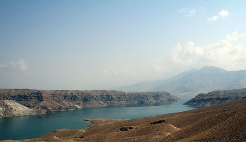 A view of a lake in a valley in Afghanistan.
