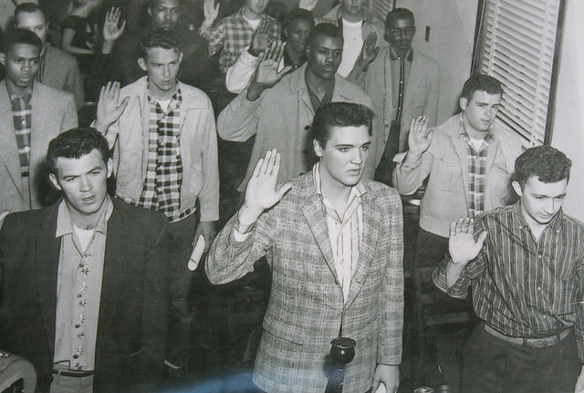 ELVIS being sworn into the army