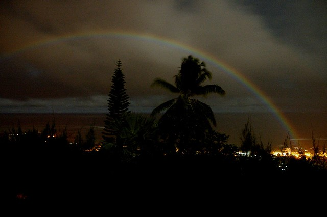 Moonbow over the Pacific Ocean in Tahiti
