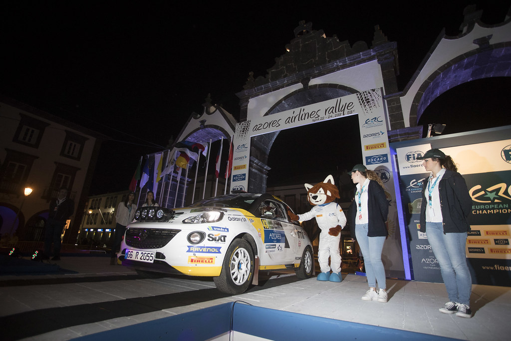 43 SESKS Martin (lva), RENARS Francis (lva),Adac Opel rallye junior team, OPEL ADAM R2, portrait and PERCY during the 2018 European Rally Championship ERC Azores rally,  from March 22 to 24, at Ponta Delgada Portugal - Photo Gregory Lenormand / DPPI