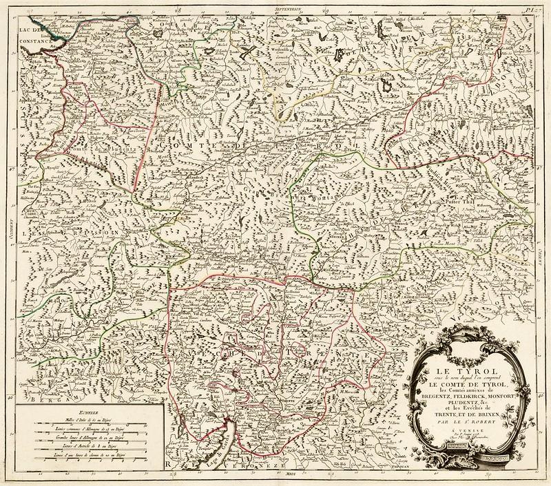 Gilles Robert de Vaugondy - Le Tyrol sous le nom duquel l'on comprend Le Comte Tyrol, les Comtes annexes de Bregentz, Feldkirck, Monfort, Pludentz &c. et les Eveches de Trente et de Brixen (1778)