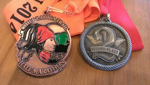 Jacksonville, Alabama - Ladiga Half Marathon Finisher Medal and Age-Group Medal