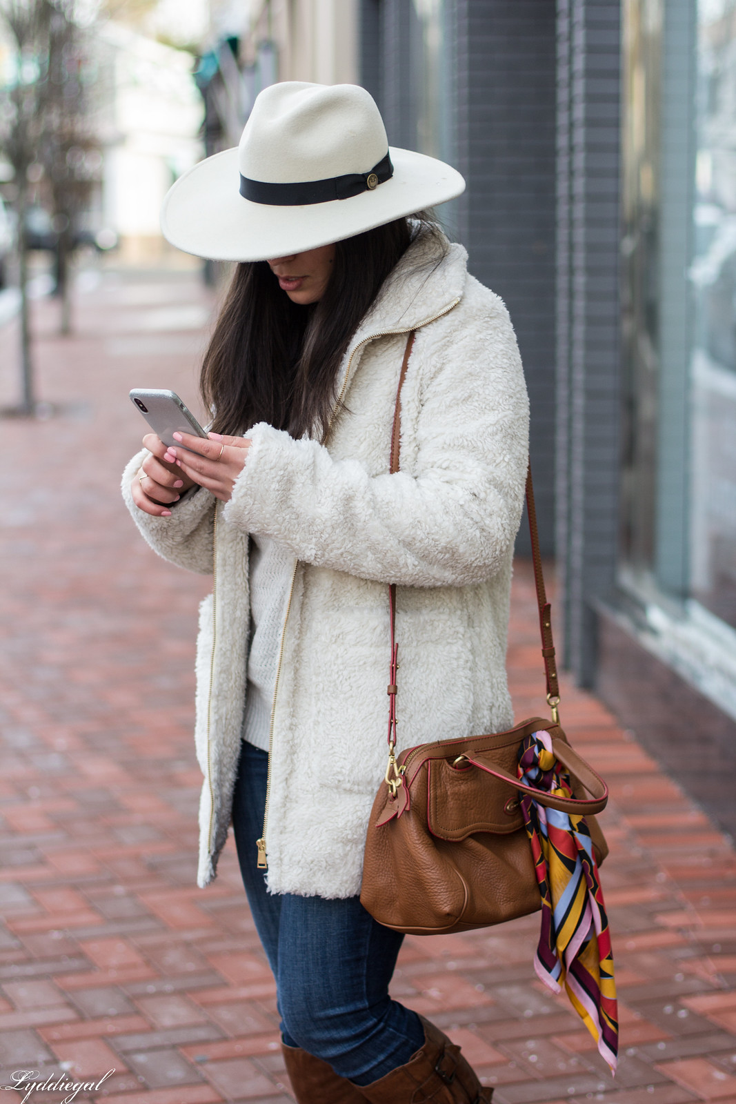Teddy coat, white sweater, brown leather boots, wool fedora-28.jpg