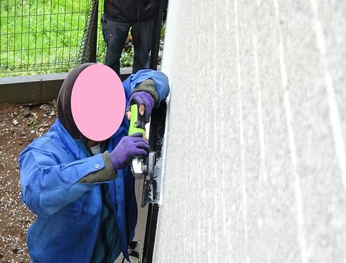 お風呂場の窓の目隠し取り付け工事