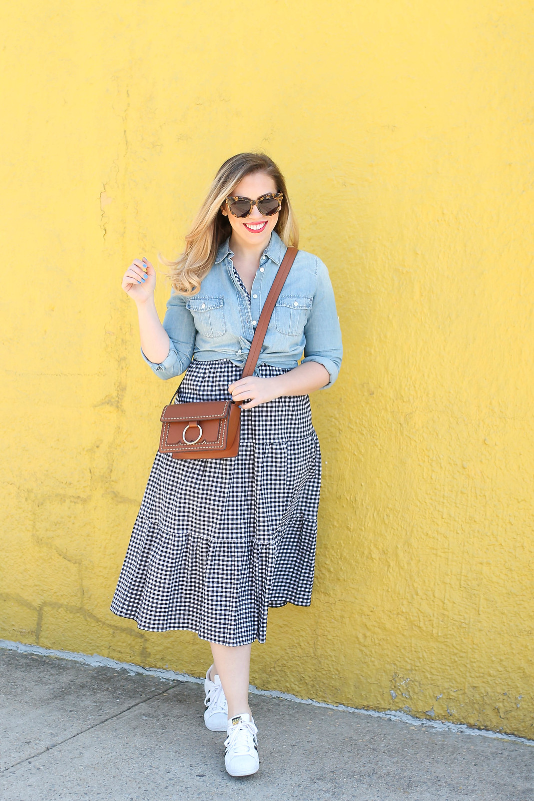 Who What Wear Sleeveless Ruffle Midi Gingham Dress JCrew Chambray Shirt Melie Biano Cherie Bag Adidas Superstar Sneakers Spring Outfit Yellow Wall