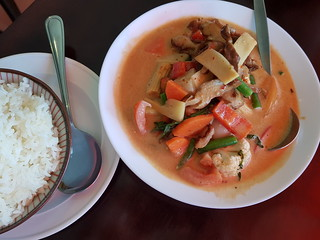 Special Red Curry with Duck, Lychees and Pineapple at PingAn Veggie Time