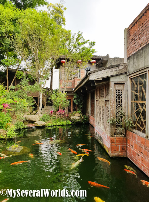 Chiayi in taiwan has a magical teahouse that will take you for Koi pool cue