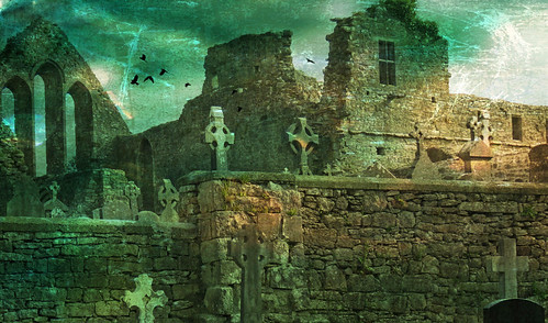 Celtic cemetery and ruins in Cong in Ireland, run through the photo apps Stackables & Distressed FX