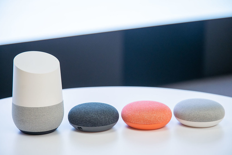 Google Home and Google Home Mini in Charcoal, Coral, Chalk