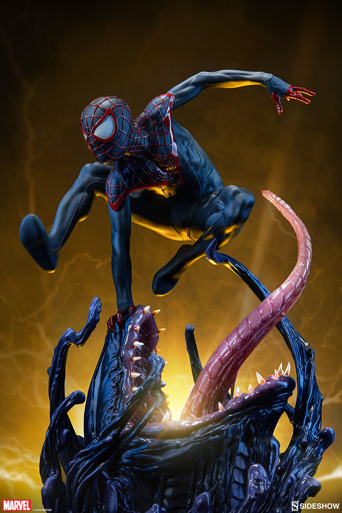 快逃離那恐怖的舌頭啊啊~~ Sideshow Collectibles Premium Format Figure 系列 Marvel Comics【終極蜘蛛人 邁爾斯】Spider-Man Miles Morales 1/4 比例全身雕像作品