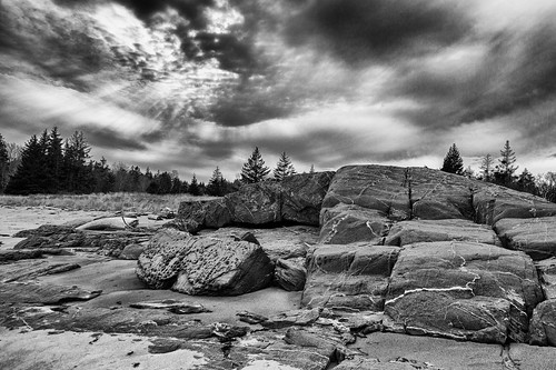 georgetown maine indianpoint beach rocks clouds bw monotone