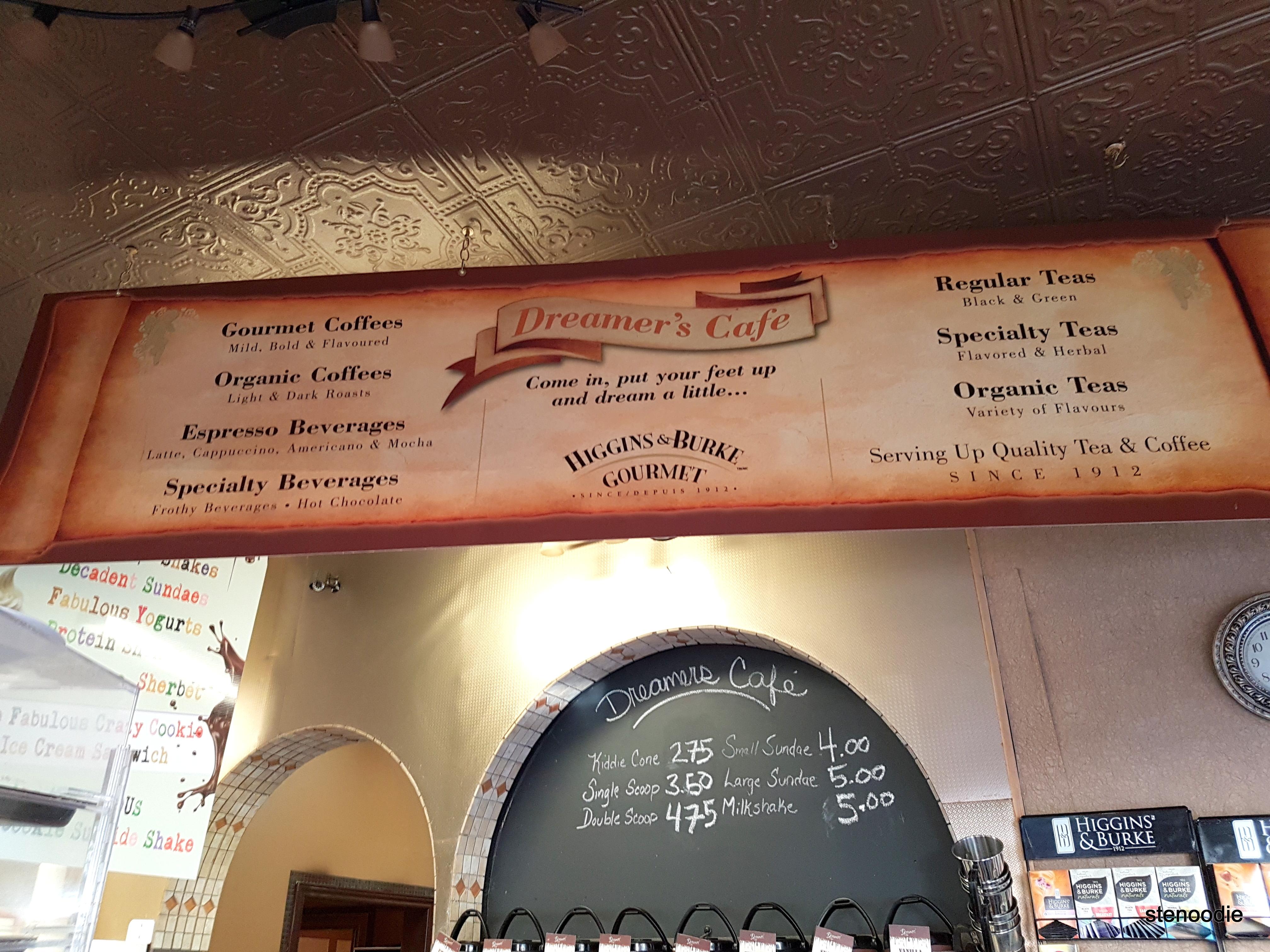 Dreamers' Cafe coffee and tea menu