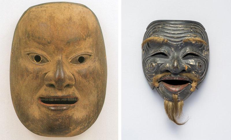 左)《福太夫 出雲作》(滋賀・油日神社、~4月8日展示) 右)《三番叟》(室町時代、滋賀・日吉大社、4月10日~5月6日展示)