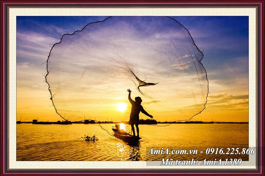 AmiA 1389 - Tranh phong cảnh đẹp quê hương quang vó buổi sáng