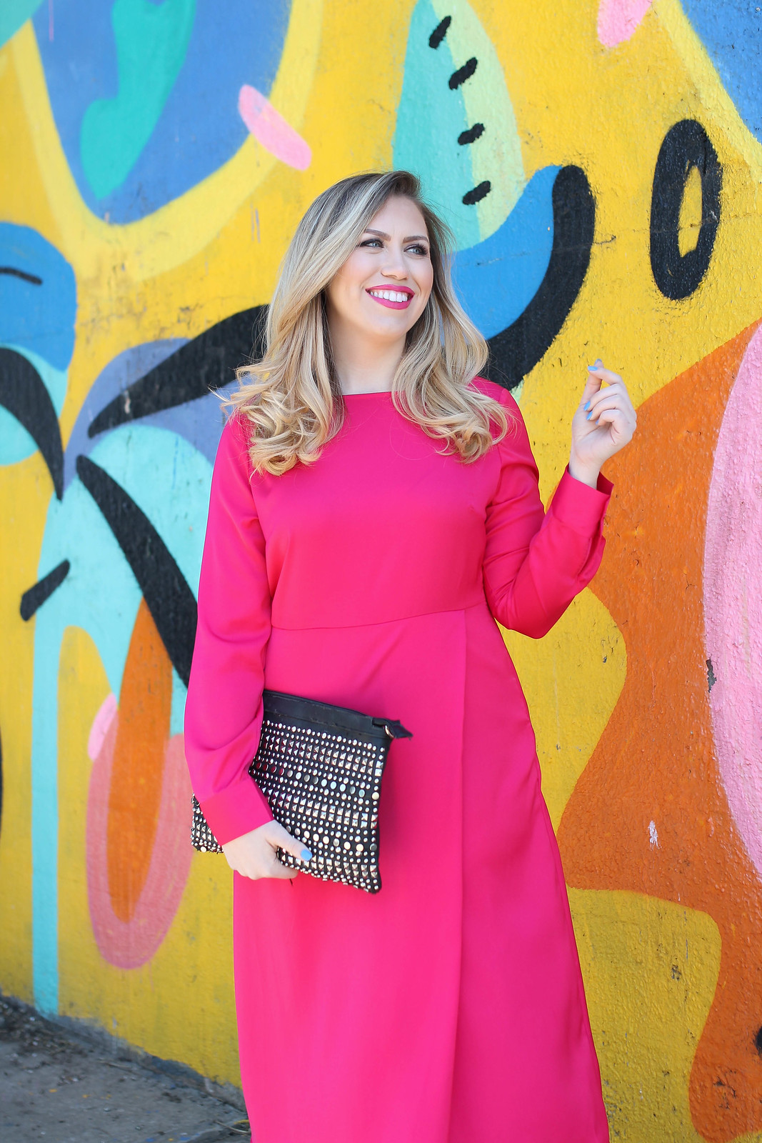 Hot Pink Satin Midi Dress Studded Clutch Hot Pink Lipstick Spring Outfit Living After Midnite Jackie Giardina Style Fashion Blogger