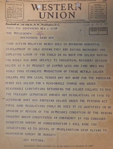 Pittman to FDR telegram