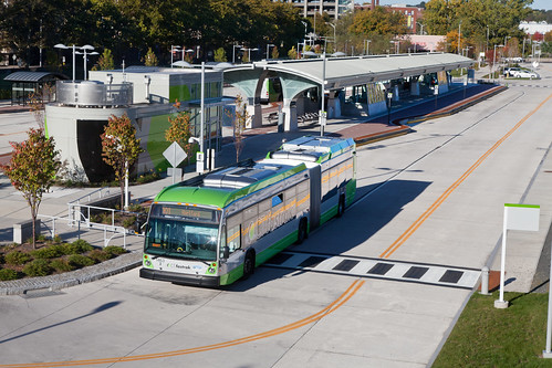 CT Fastrack bus rapid transit system runs in its own guideway in Hartford, Connecticut. The system opened in 2015.