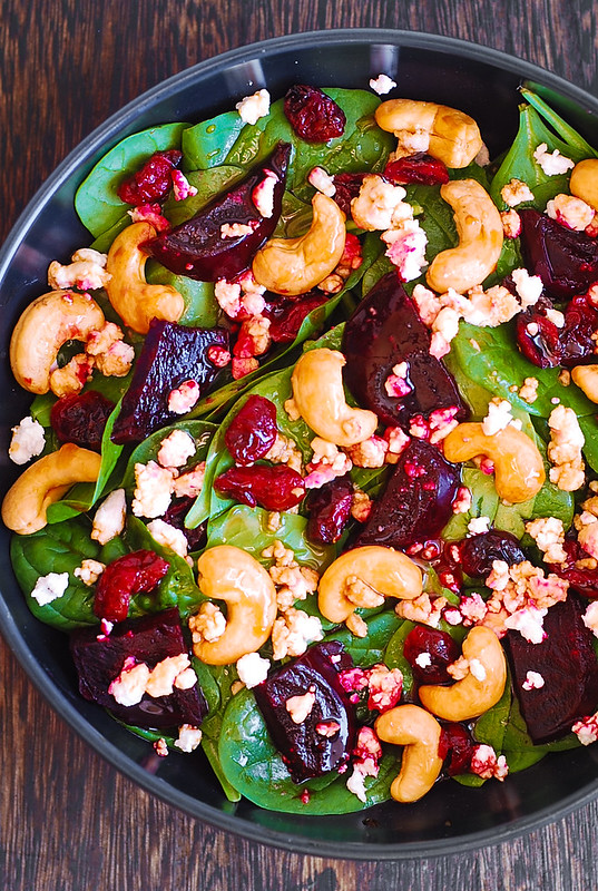 healthy beet salad, healthy spinach salad