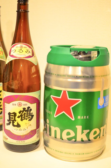 ハイネケン樽と一升瓶