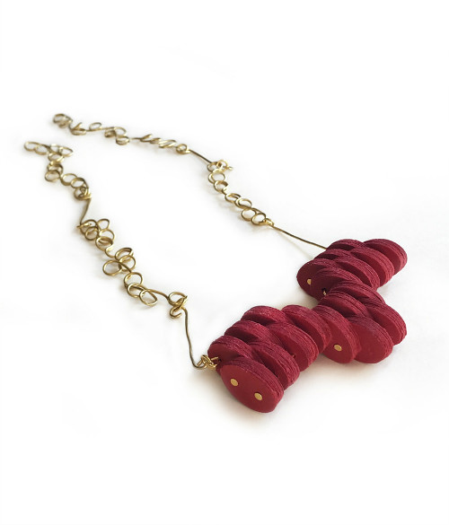 Red Paper Necklace by Alfieri Jewel Design