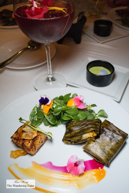 Ajochile sea bass with hoja santa tamale with fresh purslane salad
