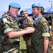 Head of Mission and Force Commander Major General Michael Beary awarding a medal to serving peacekeeper during the ceremony held at UNIFIL HQ's to mark the mission's 40th Anniversary. Naqoura, South Lebanon. May 29th, 2015. Photo by Pasqual Gorriz (UN)
