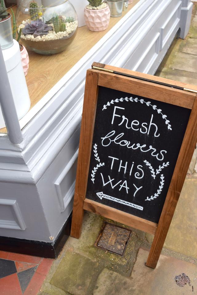 Fresh Flowers Signage at Lady Penelope's, Canterbury