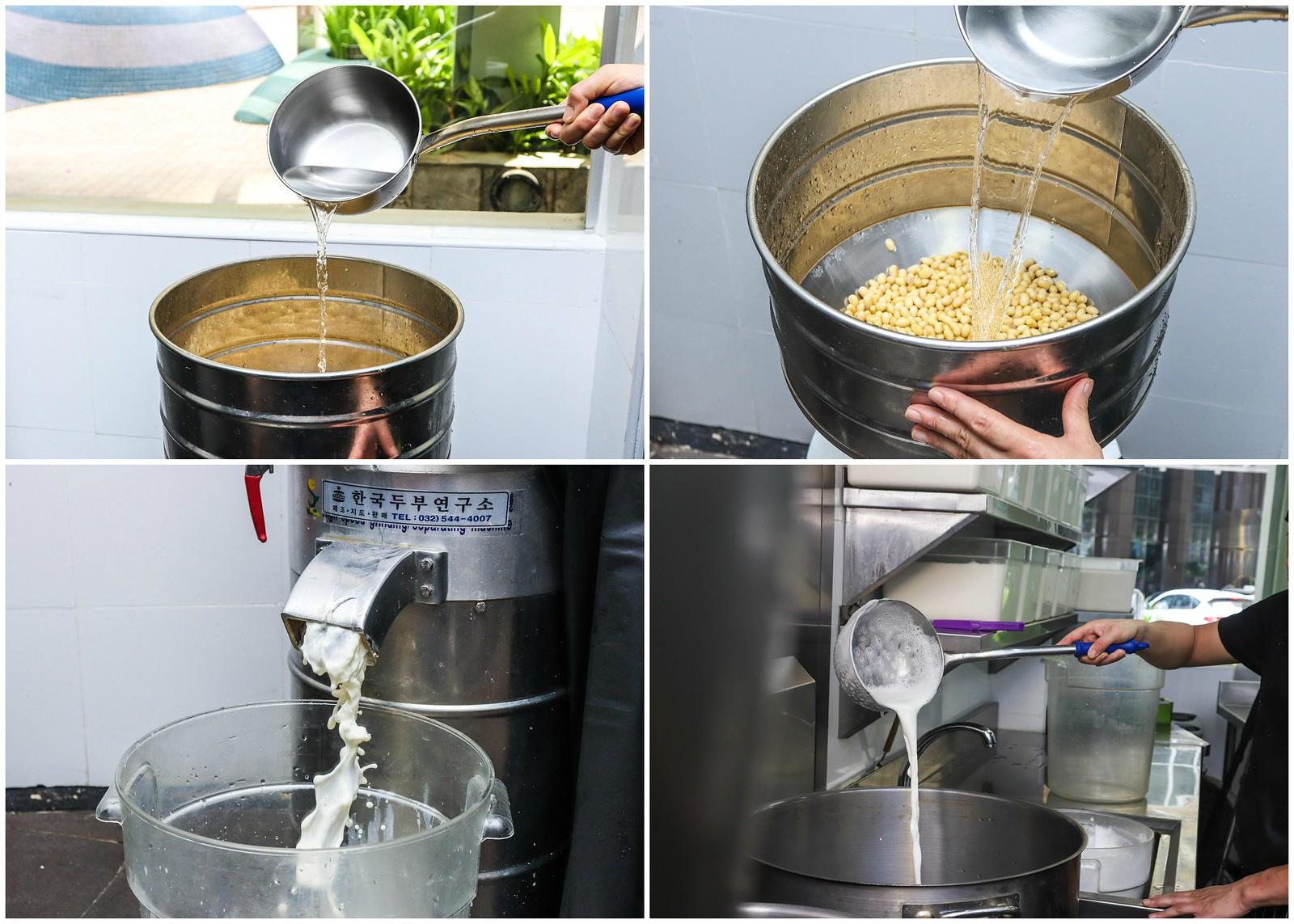 making tofu collage