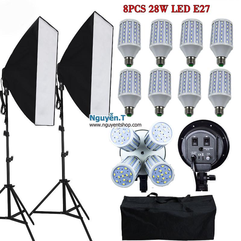 02 Softbox đuôi sứ bốn chuôi 50 x70cm + 08 bóng đèn Led 360 độ 28W + 2 Chân đèn cao 2m