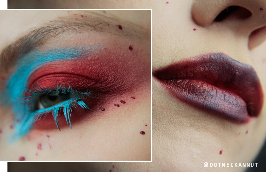 red blue makeup