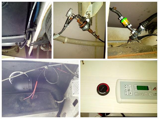 installation de l'alimentation gazole (pompe et filtre) et gaine d'air chaud isolée qui part de la SDB