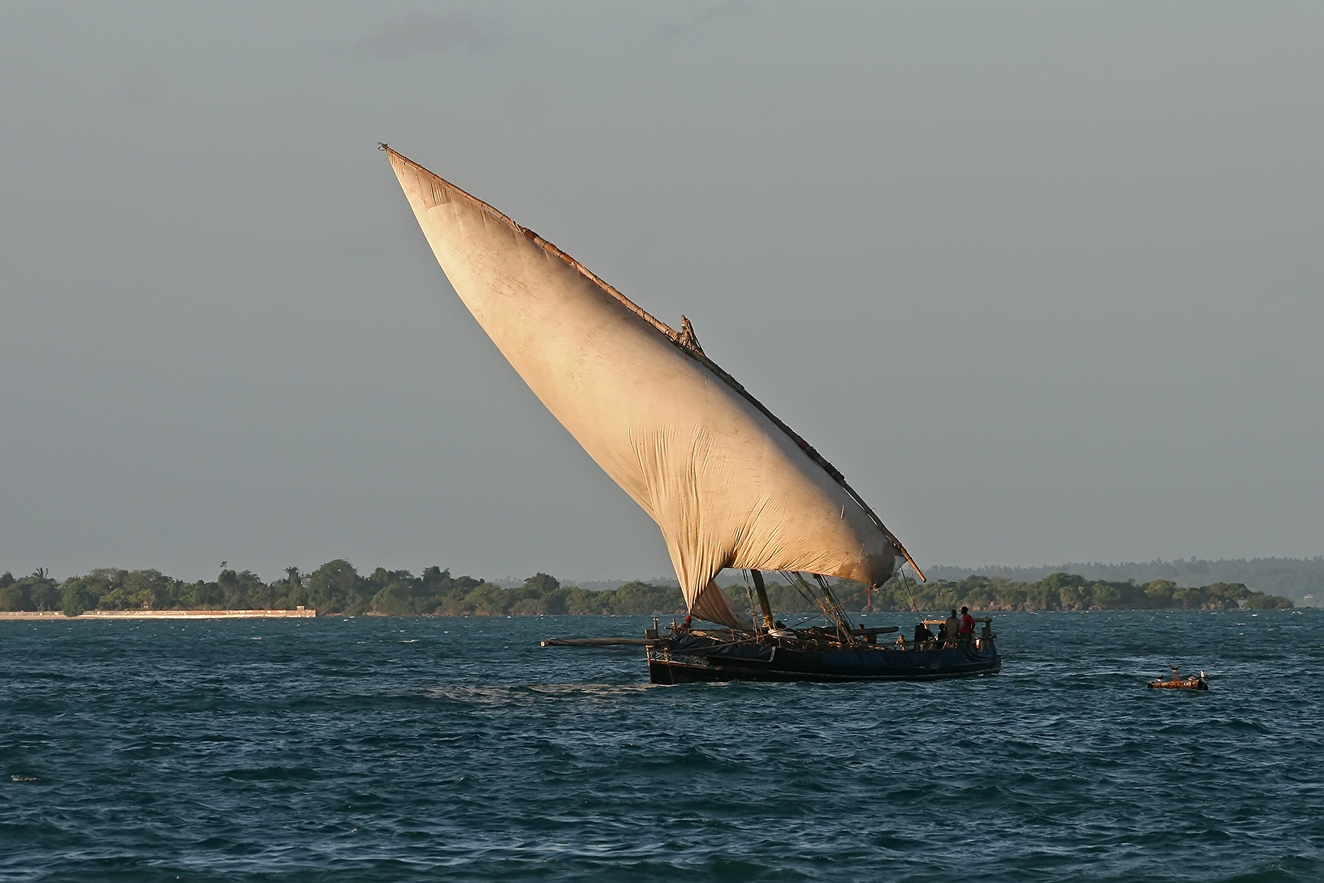 A small dhow in the Indian Ocean. Photo taken at Zanzibar on January 23, 2011.