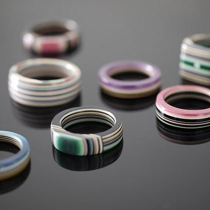 Stacked Paper Rings by The Woman