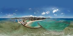 The Duke Kahanamoku Beach and Lagoon in Waikiki as seen from my DJI Mavic Pro hovering at 208 feet - an aerial 360° Equirectangular VR