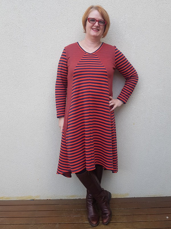 Style Arc Eden dress in double sided striped knit from Clear It