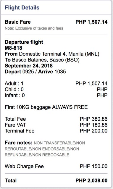 Manila to Batanes SkyJet Airlines September 24, 2018 One-way Fare