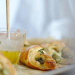 spárga leveles tésztában, brie sajttal