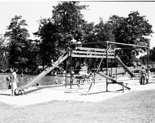 Volunteer Park playground and wading pool, 1936