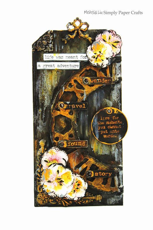 Meihsia Liu Simply Paper Crafts Mixed Media Tag Time Out Simon Says Stamp Tim Holtz 1